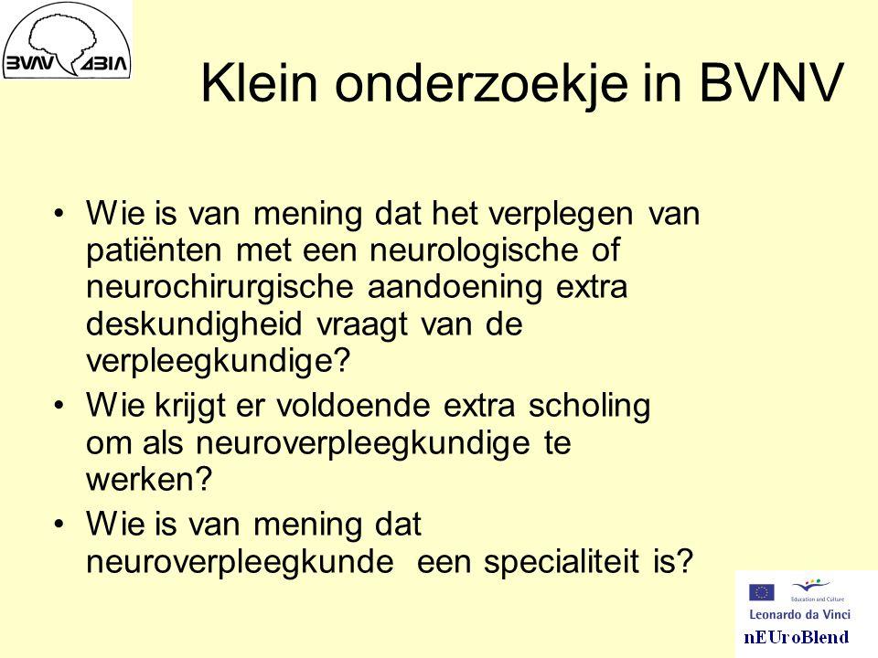 Klein onderzoekje in BVNV Wie is van mening dat het verplegen van patiënten met een neurologische of neurochirurgische aandoening extra deskundigheid vraagt van de verpleegkundige.