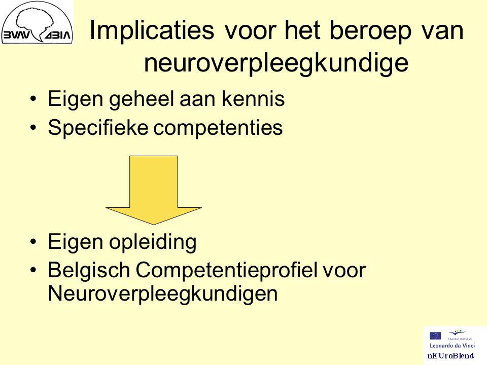 Implicaties voor het beroep van neuroverpleegkundige Eigen geheel aan kennis Specifieke competenties Eigen opleiding Belgisch Competentieprofiel voor Neuroverpleegkundigen