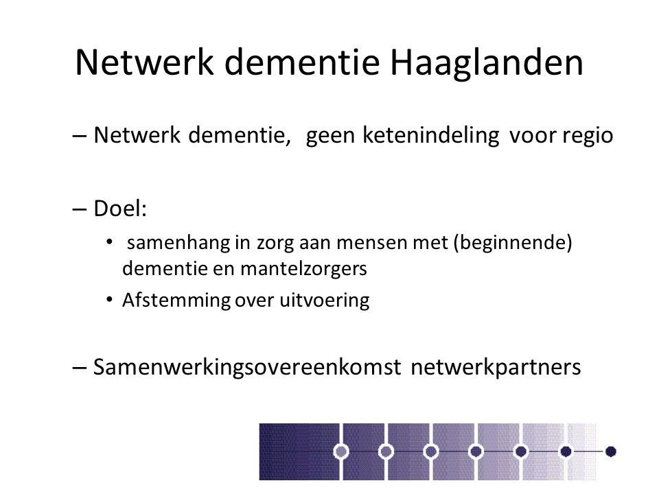 Netwerk dementie Haaglanden – Netwerk dementie, geen ketenindeling voor regio – Doel: samenhang in zorg aan mensen met (beginnende) dementie en mantel