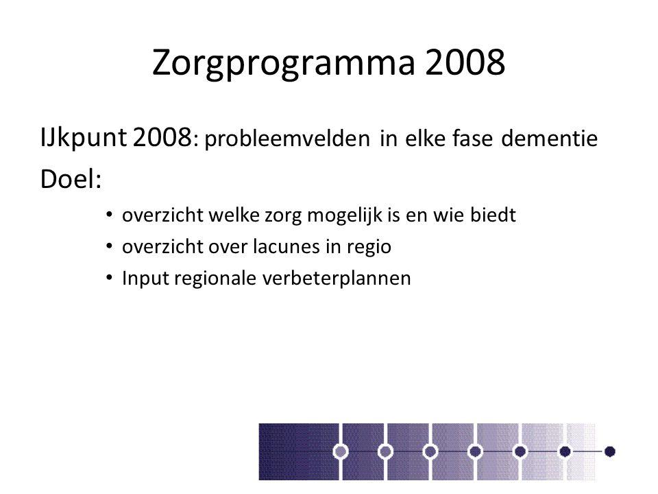 Zorgprogramma 2008 IJkpunt 2008 : probleemvelden in elke fase dementie Doel: overzicht welke zorg mogelijk is en wie biedt overzicht over lacunes in r
