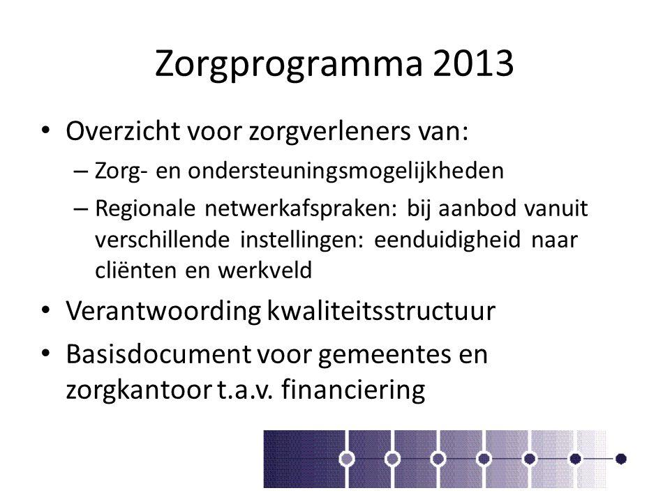 Zorgprogramma 2013 Overzicht voor zorgverleners van: – Zorg- en ondersteuningsmogelijkheden – Regionale netwerkafspraken: bij aanbod vanuit verschille