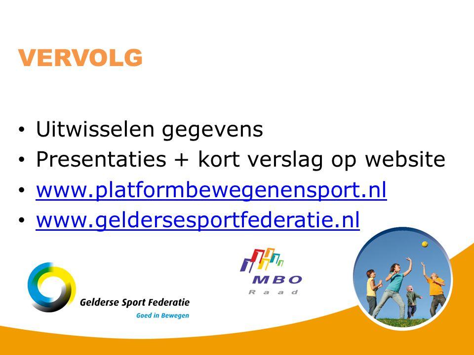 Uitwisselen gegevens Presentaties + kort verslag op website www.platformbewegenensport.nl www.geldersesportfederatie.nl VERVOLG