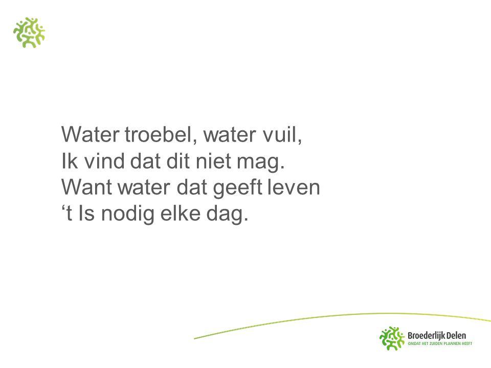 Water troebel, water vuil, Ik vind dat dit niet mag. Want water dat geeft leven 't Is nodig elke dag.
