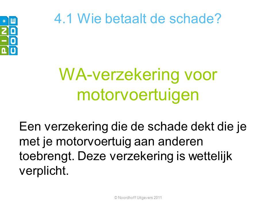 WA-verzekering voor motorvoertuigen Een verzekering die de schade dekt die je met je motorvoertuig aan anderen toebrengt. Deze verzekering is wettelij