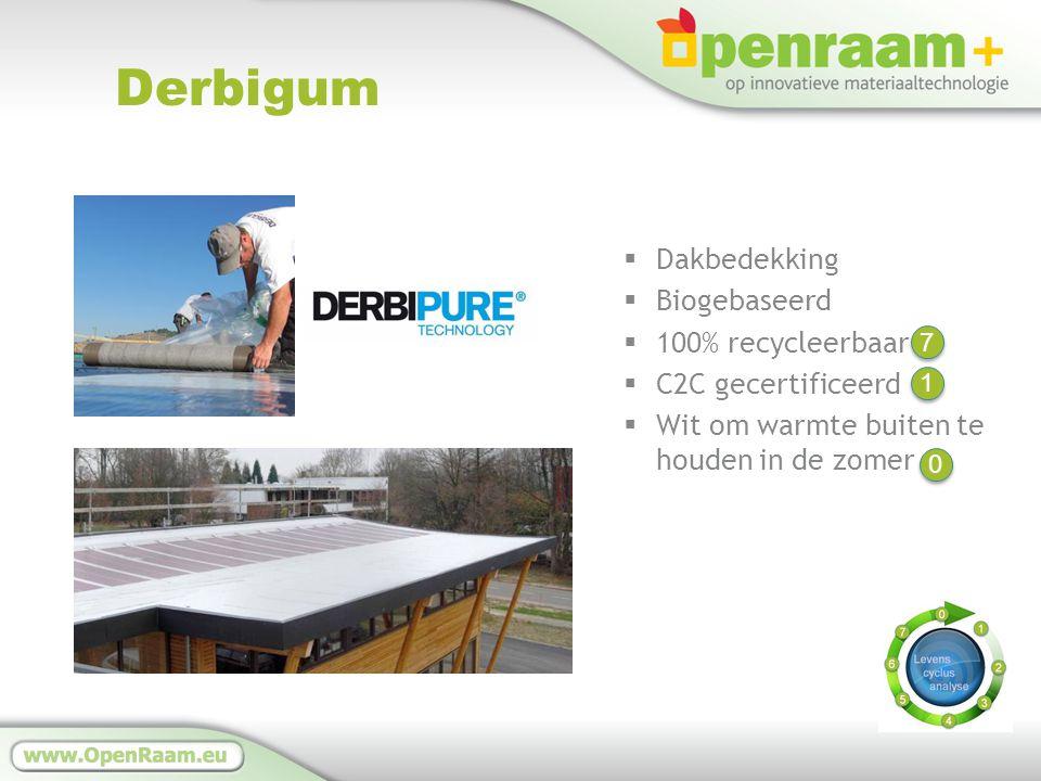 Derbigum  Dakbedekking  Biogebaseerd  100% recycleerbaar  C2C gecertificeerd  Wit om warmte buiten te houden in de zomer 1 1 7 7 0 0