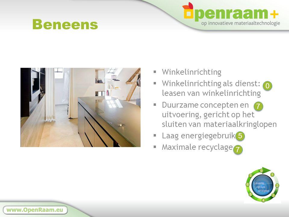 Beneens  Winkelinrichting  Winkelinrichting als dienst: leasen van winkelinrichting  Duurzame concepten en uitvoering, gericht op het sluiten van materiaalkringlopen  Laag energiegebruik  Maximale recyclage 7 7 5 5 7 7 0 0