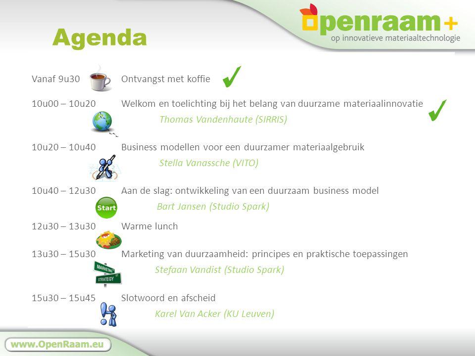 Agenda Vanaf 9u30Ontvangst met koffie 10u00 – 10u20 Welkom en toelichting bij het belang van duurzame materiaalinnovatie Thomas Vandenhaute (SIRRIS) 10u20 – 10u40 Business modellen voor een duurzamer materiaalgebruik Stella Vanassche (VITO) 10u40 – 12u30 Aan de slag: ontwikkeling van een duurzaam business model Bart Jansen (Studio Spark) 12u30 – 13u30 Warme lunch 13u30 – 15u30 Marketing van duurzaamheid: principes en praktische toepassingen Stefaan Vandist (Studio Spark) 15u30 – 15u45 Slotwoord en afscheid Karel Van Acker (KU Leuven)