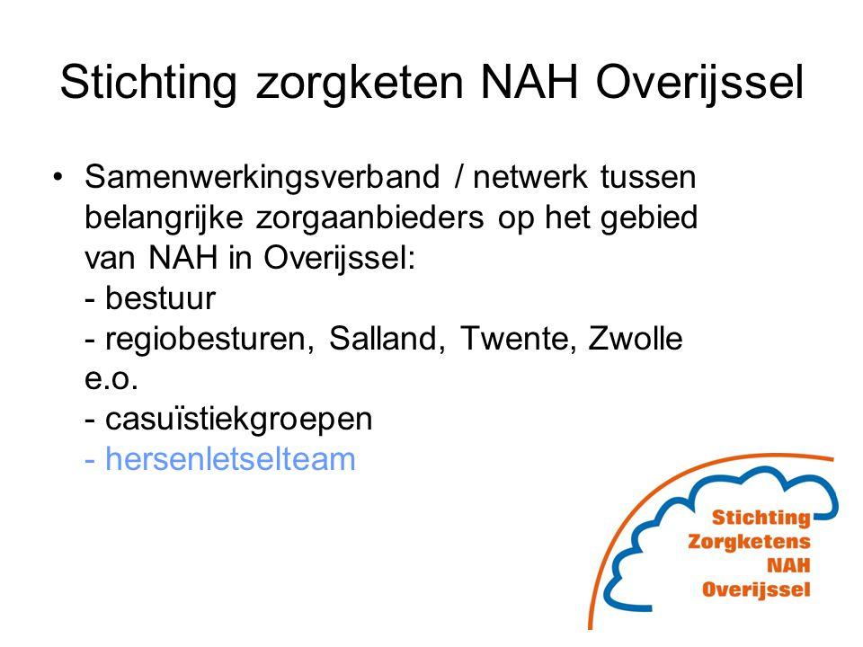 Stichting zorgketen NAH Overijssel Samenwerkingsverband / netwerk tussen belangrijke zorgaanbieders op het gebied van NAH in Overijssel: - bestuur - r