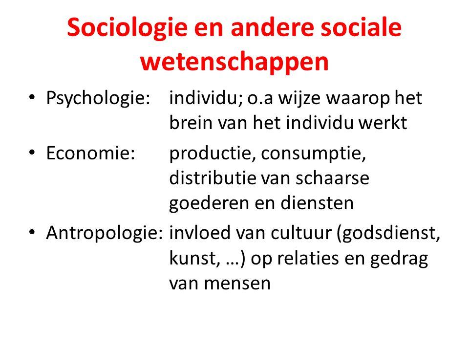 Sociologie en andere sociale wetenschappen Psychologie:individu; o.a wijze waarop het brein van het individu werkt Economie:productie, consumptie, distributie van schaarse goederen en diensten Antropologie:invloed van cultuur (godsdienst, kunst, …) op relaties en gedrag van mensen