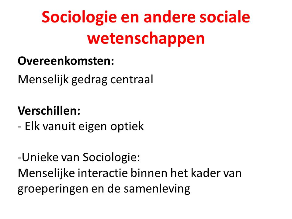 Sociologische perspectieven Historisch Regelmatigheden Stabiliteit Conflict