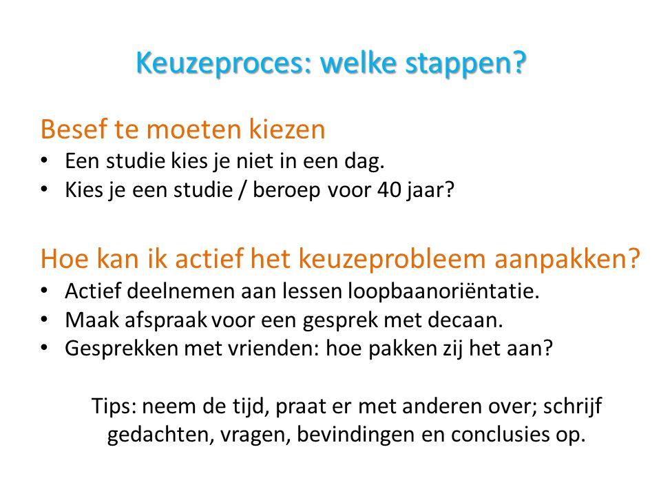 Keuzeproces: welke stappen? Besef te moeten kiezen Een studie kies je niet in een dag. Kies je een studie / beroep voor 40 jaar? Hoe kan ik actief het