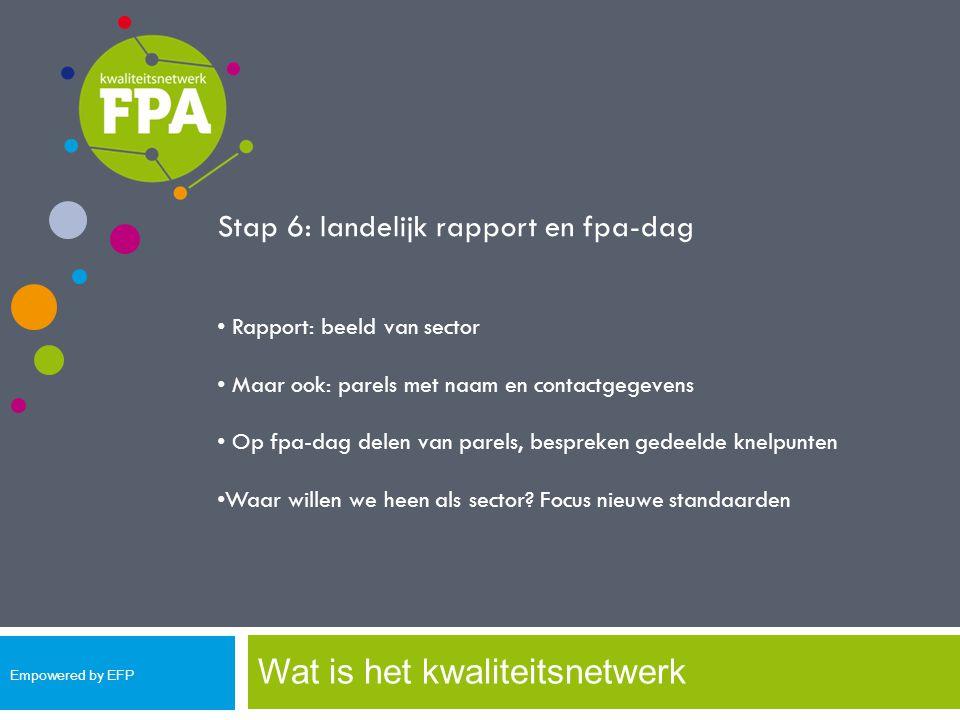 Wat is het kwaliteitsnetwerk Stap 6: landelijk rapport en fpa-dag Rapport: beeld van sector Maar ook: parels met naam en contactgegevens Op fpa-dag de