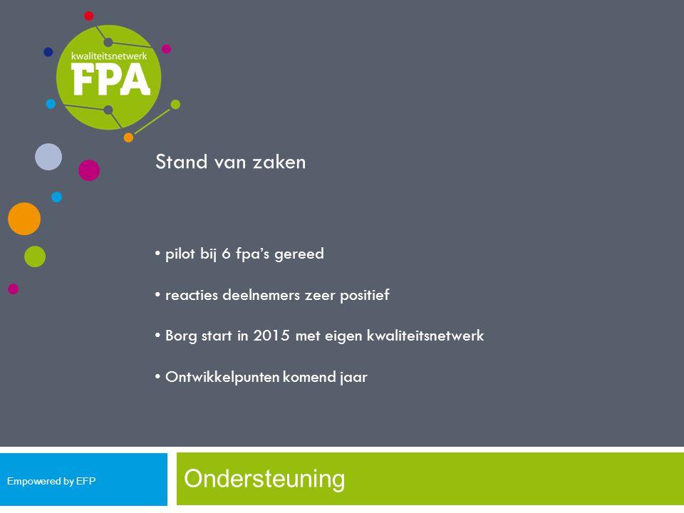 Ondersteuning Stand van zaken pilot bij 6 fpa's gereed reacties deelnemers zeer positief Borg start in 2015 met eigen kwaliteitsnetwerk Ontwikkelpunte