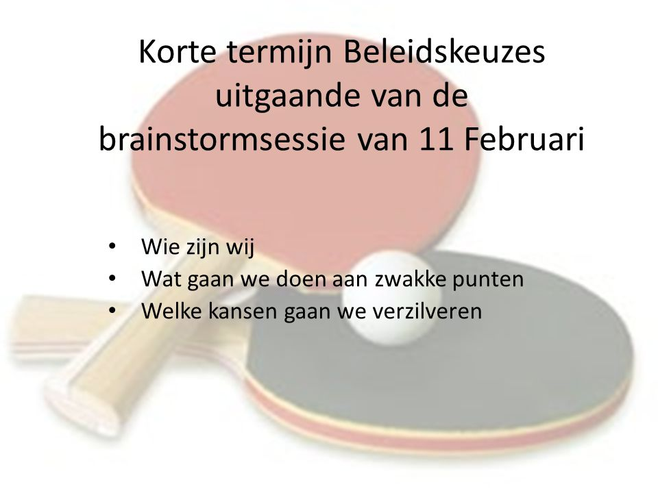 Korte termijn Beleidskeuzes uitgaande van de brainstormsessie van 11 Februari Wie zijn wij Wat gaan we doen aan zwakke punten Welke kansen gaan we verzilveren