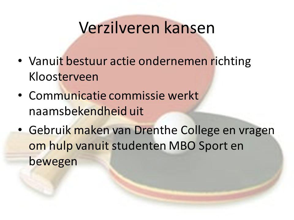 Verzilveren kansen Vanuit bestuur actie ondernemen richting Kloosterveen Communicatie commissie werkt naamsbekendheid uit Gebruik maken van Drenthe College en vragen om hulp vanuit studenten MBO Sport en bewegen