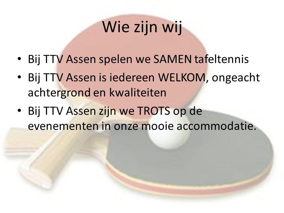 Wie zijn wij Bij TTV Assen spelen we SAMEN tafeltennis Bij TTV Assen is iedereen WELKOM, ongeacht achtergrond en kwaliteiten Bij TTV Assen zijn we TROTS op de evenementen in onze mooie accommodatie.