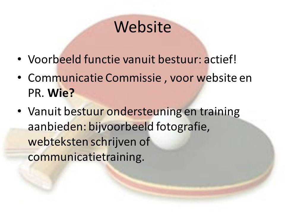 Website Voorbeeld functie vanuit bestuur: actief. Communicatie Commissie, voor website en PR.