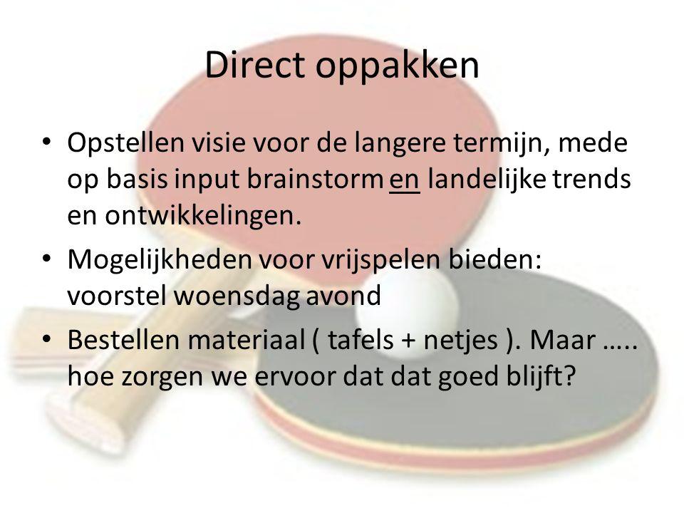 Direct oppakken Opstellen visie voor de langere termijn, mede op basis input brainstorm en landelijke trends en ontwikkelingen.