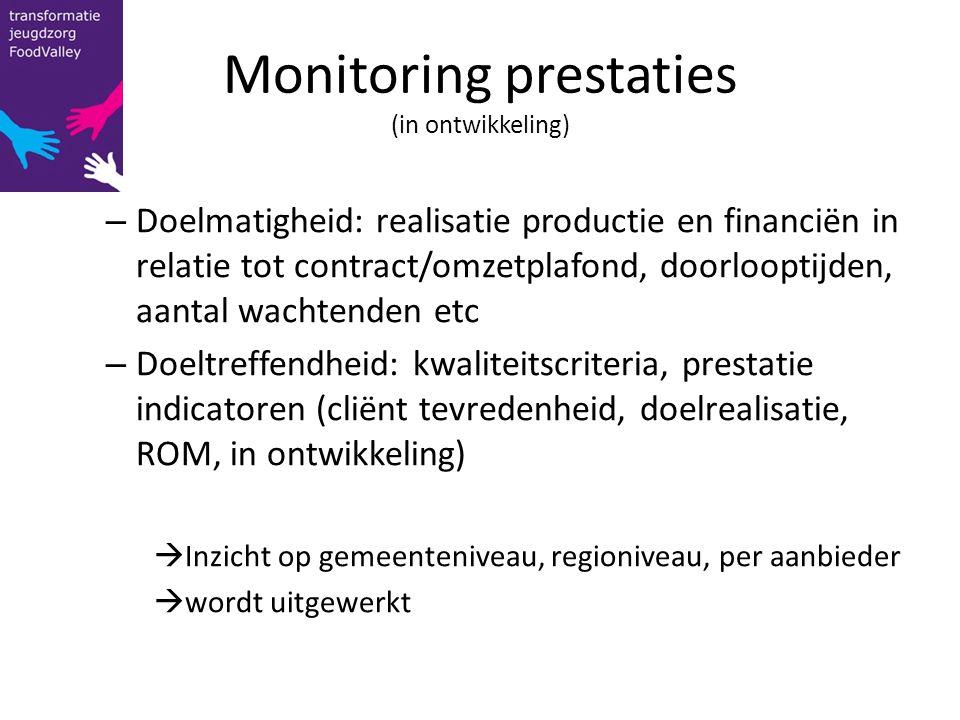 Monitoring prestaties (in ontwikkeling) – Doelmatigheid: realisatie productie en financiën in relatie tot contract/omzetplafond, doorlooptijden, aanta