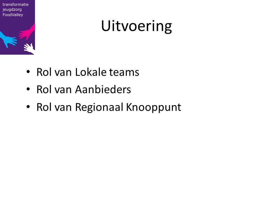 Uitvoering Rol van Lokale teams Rol van Aanbieders Rol van Regionaal Knooppunt