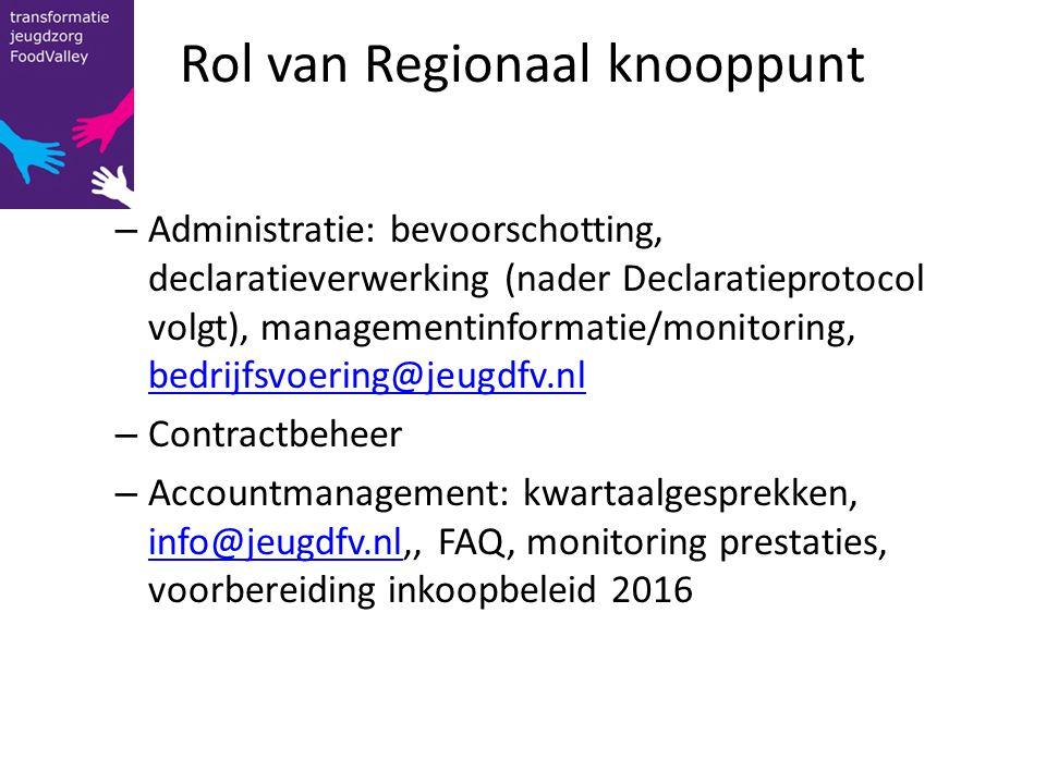 Rol van Regionaal knooppunt – Administratie: bevoorschotting, declaratieverwerking (nader Declaratieprotocol volgt), managementinformatie/monitoring,