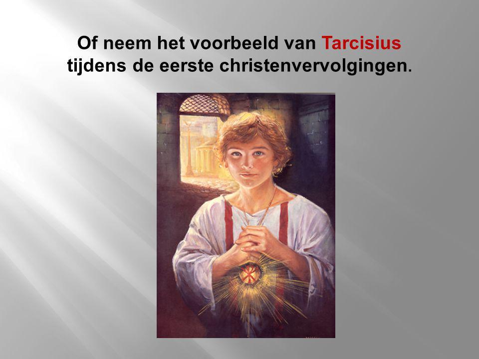 Of neem het voorbeeld van Tarcisius tijdens de eerste christenvervolgingen.