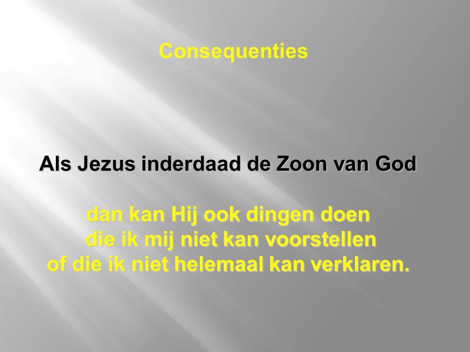Als Jezus inderdaad de Zoon van God dan kan Hij ook dingen doen die ik mij niet kan voorstellen die ik mij niet kan voorstellen of die ik niet helemaa