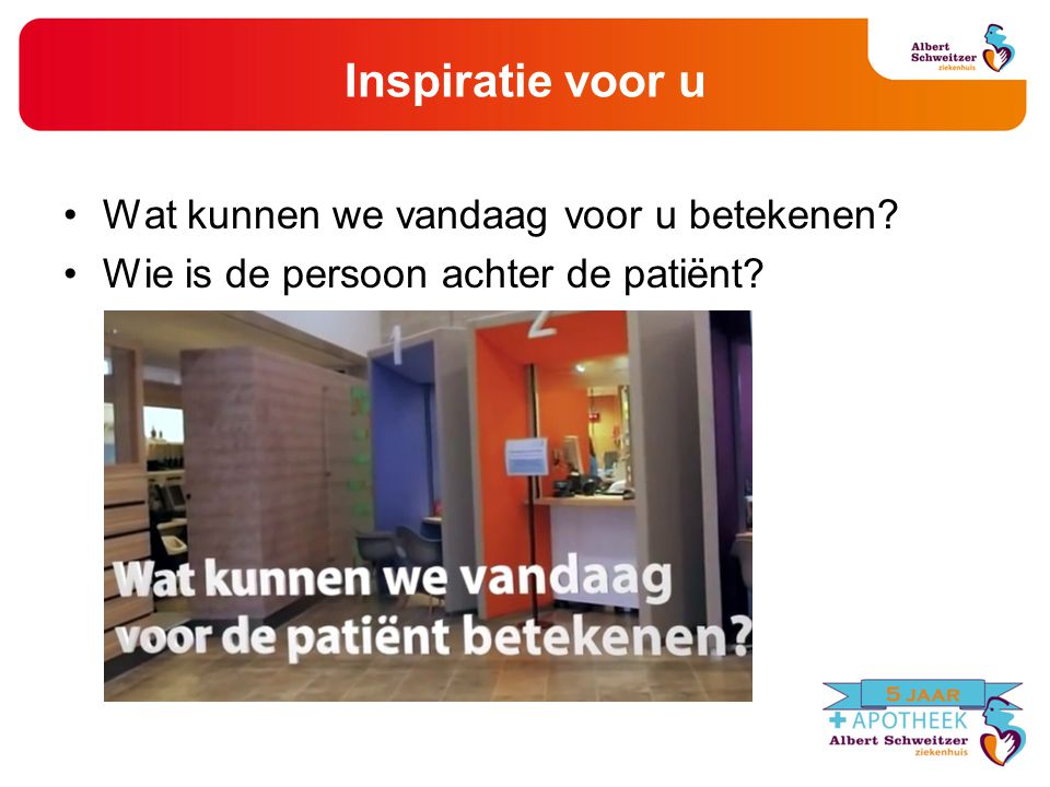 Inspiratie voor u Wat kunnen we vandaag voor u betekenen? Wie is de persoon achter de patiënt?