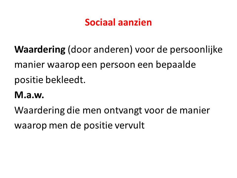 Sociaal aanzien Waardering (door anderen) voor de persoonlijke manier waarop een persoon een bepaalde positie bekleedt. M.a.w. Waardering die men ontv