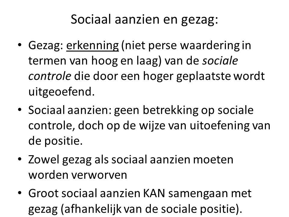 Sociaal aanzien en gezag: Gezag: erkenning (niet perse waardering in termen van hoog en laag) van de sociale controle die door een hoger geplaatste wo