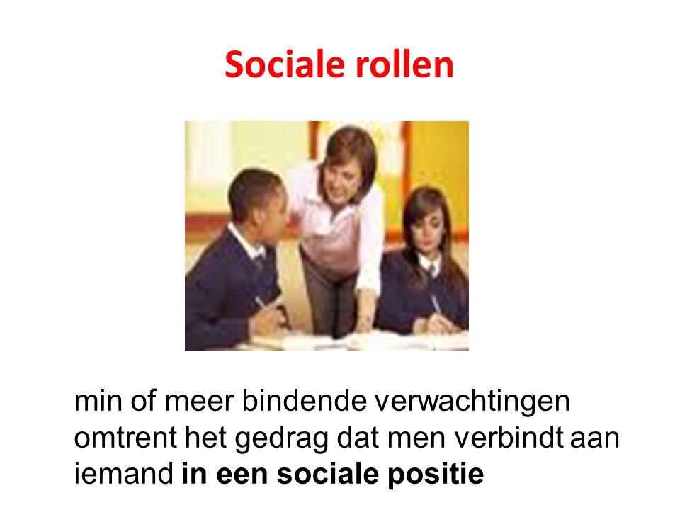 Sociale rollen min of meer bindende verwachtingen omtrent het gedrag dat men verbindt aan iemand in een sociale positie