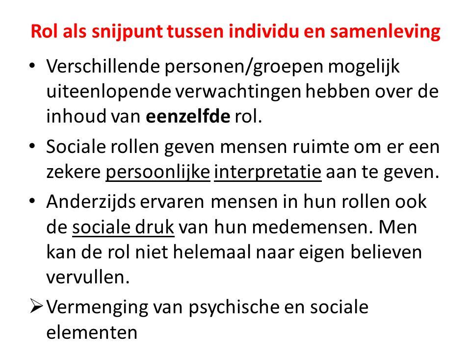 Rol als snijpunt tussen individu en samenleving Verschillende personen/groepen mogelijk uiteenlopende verwachtingen hebben over de inhoud van eenzelfd