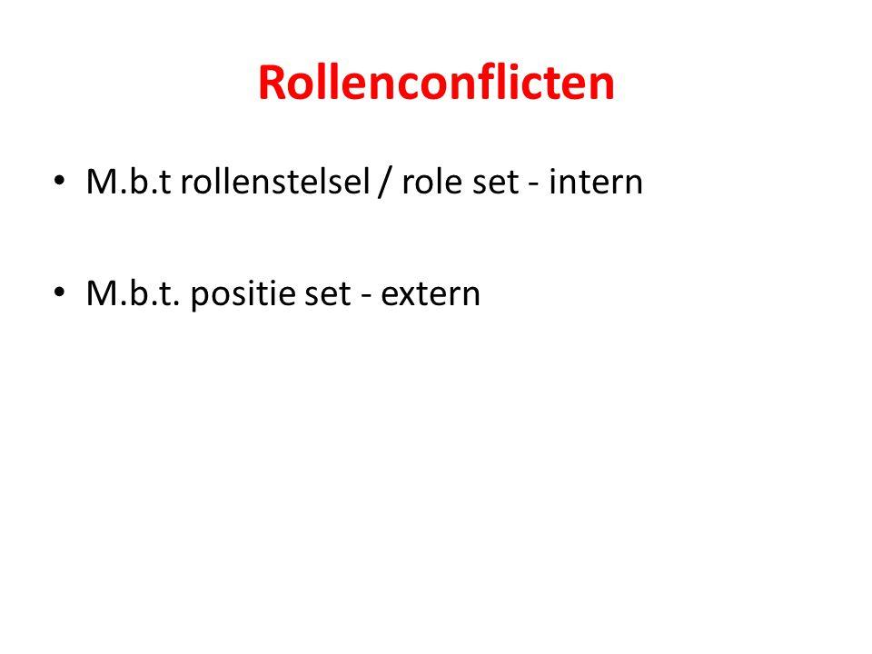 Rollenconflicten M.b.t rollenstelsel / role set - intern M.b.t. positie set - extern