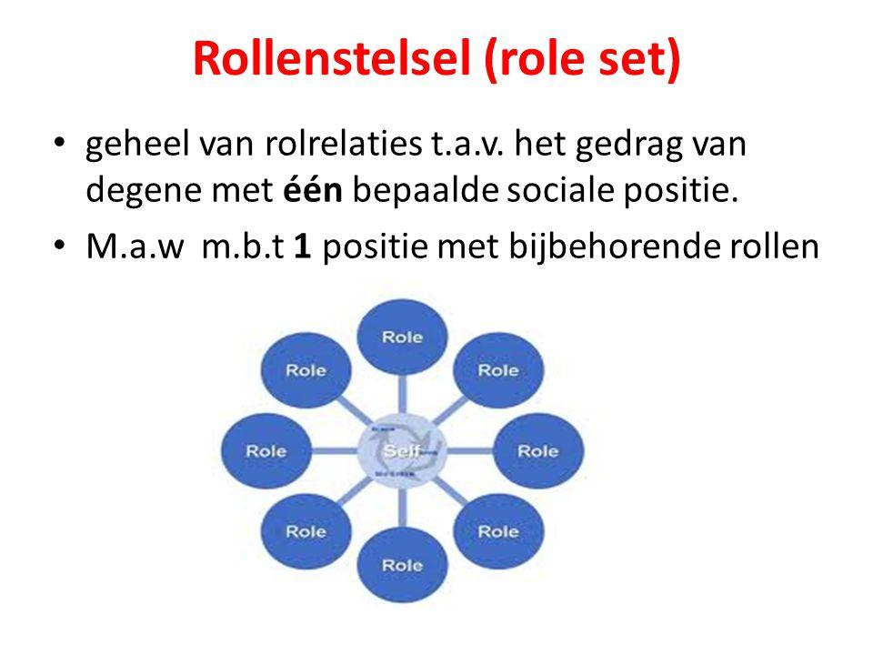 Rollenstelsel (role set) geheel van rolrelaties t.a.v. het gedrag van degene met één bepaalde sociale positie. M.a.w m.b.t 1 positie met bijbehorende