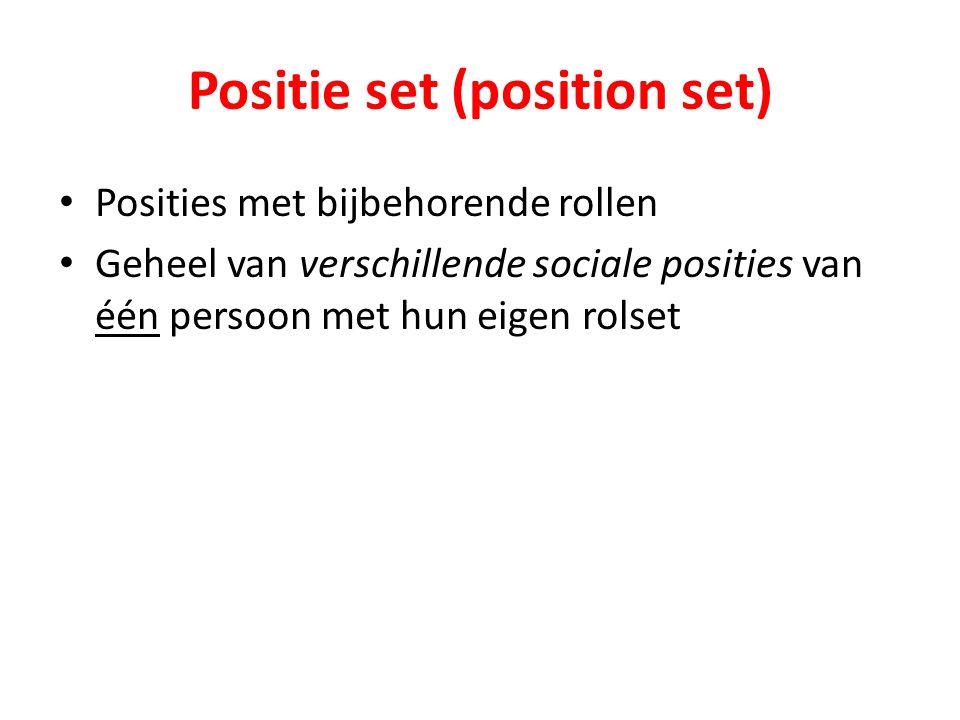 Positie set (position set) Posities met bijbehorende rollen Geheel van verschillende sociale posities van één persoon met hun eigen rolset