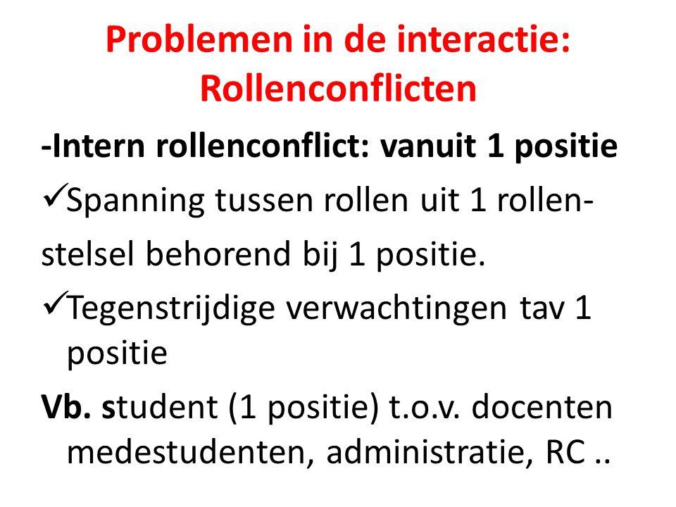 Problemen in de interactie: Rollenconflicten -Intern rollenconflict: vanuit 1 positie Spanning tussen rollen uit 1 rollen- stelsel behorend bij 1 posi