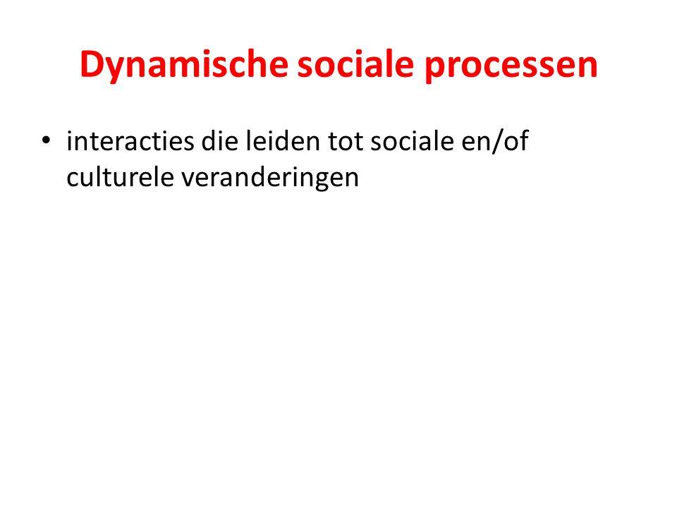 Dynamische sociale processen interacties die leiden tot sociale en/of culturele veranderingen
