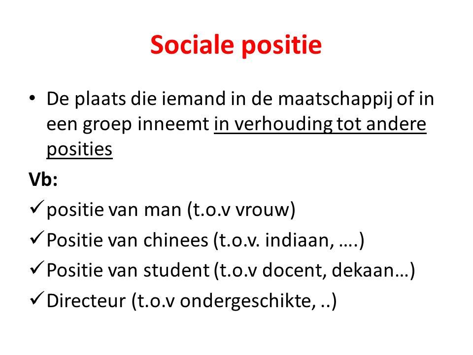 Sociale positie De plaats die iemand in de maatschappij of in een groep inneemt in verhouding tot andere posities Vb: positie van man (t.o.v vrouw) Po