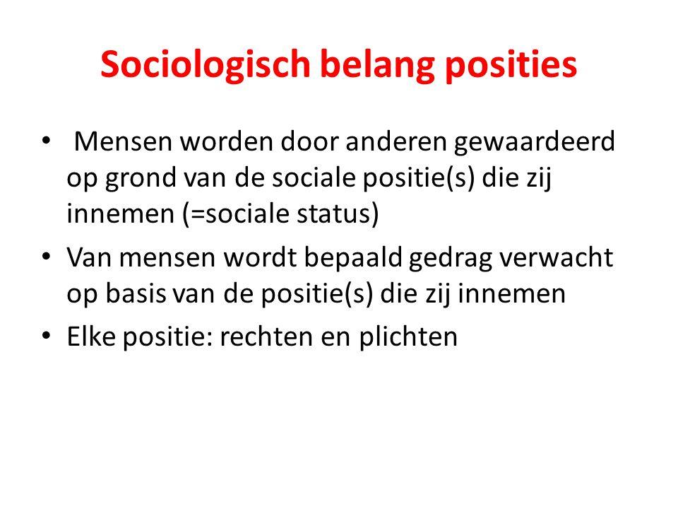 Sociologisch belang posities Mensen worden door anderen gewaardeerd op grond van de sociale positie(s) die zij innemen (=sociale status) Van mensen wo