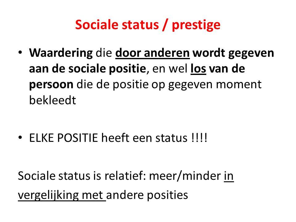 Sociale status / prestige Waardering die door anderen wordt gegeven aan de sociale positie, en wel los van de persoon die de positie op gegeven moment