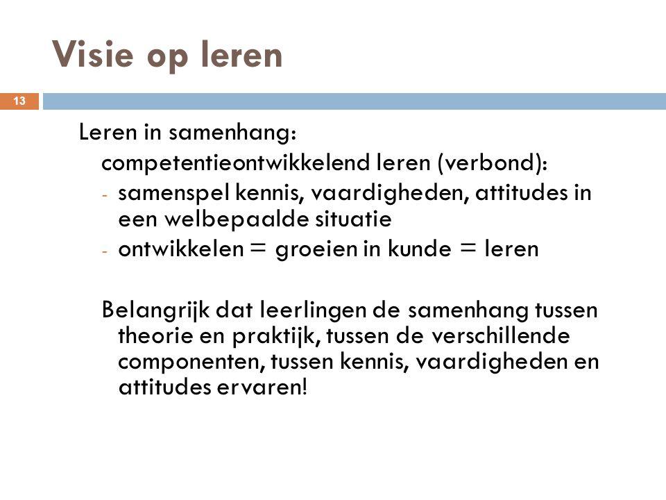 Visie op leren 13 Leren in samenhang: competentieontwikkelend leren (verbond): - samenspel kennis, vaardigheden, attitudes in een welbepaalde situatie