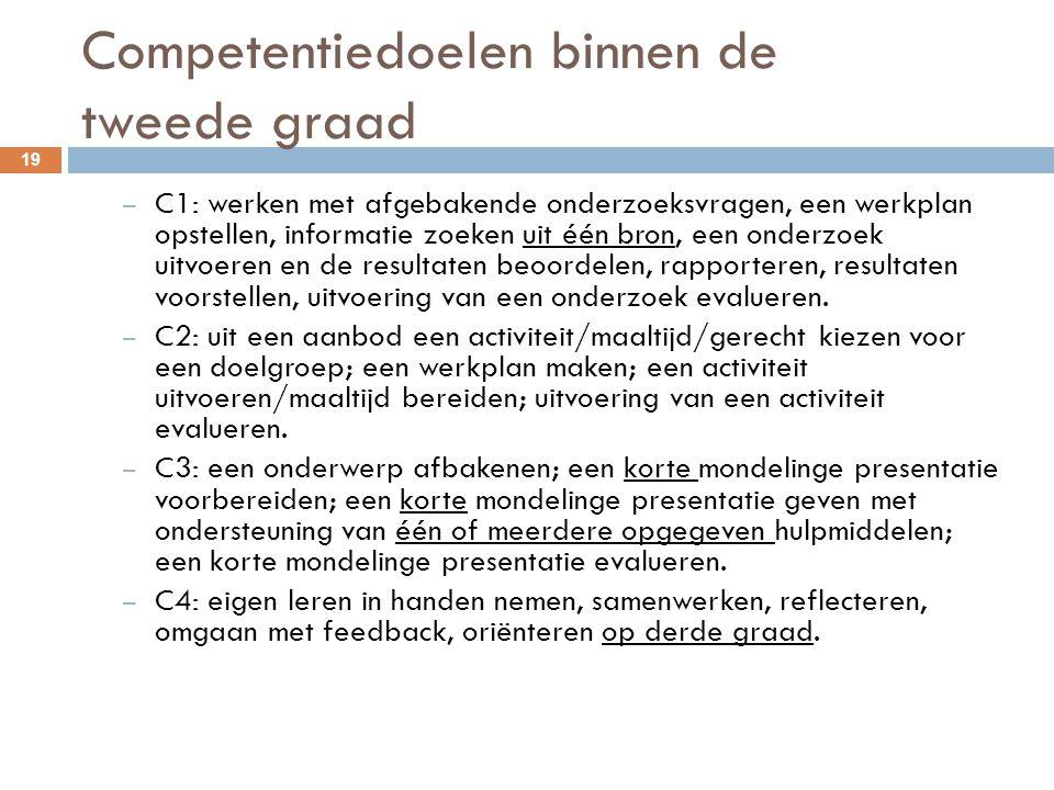 Competentiedoelen binnen de tweede graad 19 – C1: werken met afgebakende onderzoeksvragen, een werkplan opstellen, informatie zoeken uit één bron, een