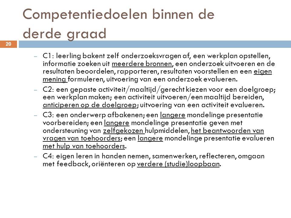 Competentiedoelen binnen de derde graad 20 – C1: leerling bakent zelf onderzoeksvragen af, een werkplan opstellen, informatie zoeken uit meerdere bron
