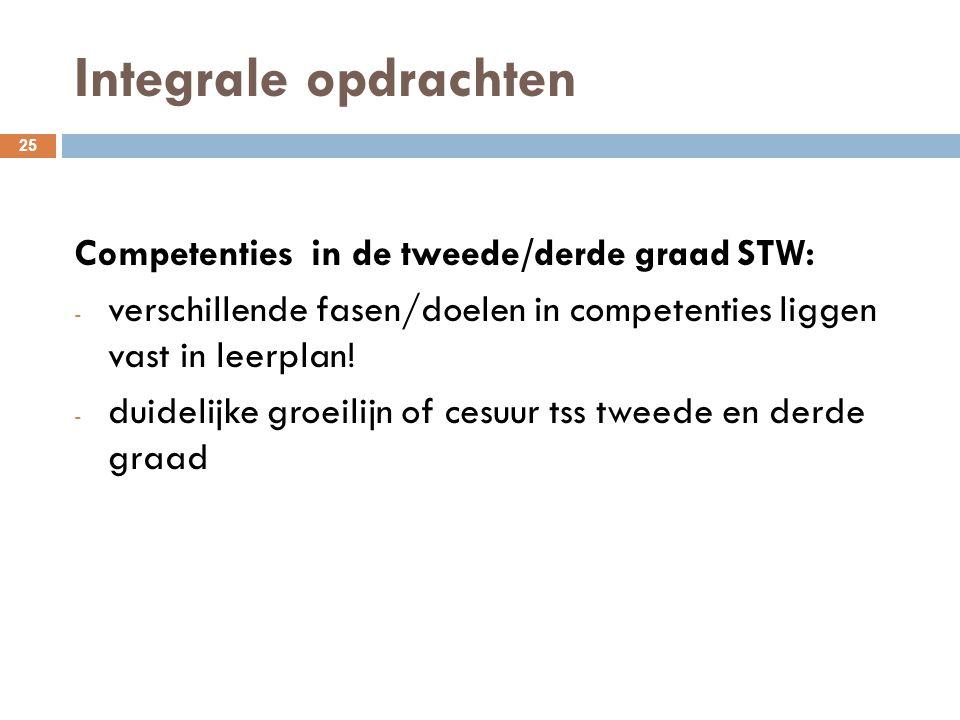 Integrale opdrachten 25 Competenties in de tweede/derde graad STW: - verschillende fasen/doelen in competenties liggen vast in leerplan! - duidelijke