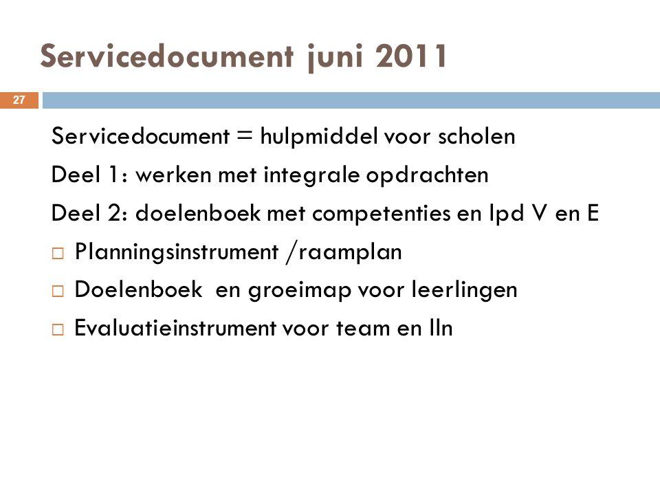 Servicedocument juni 2011 27 Servicedocument = hulpmiddel voor scholen Deel 1: werken met integrale opdrachten Deel 2: doelenboek met competenties en