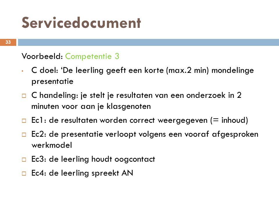 Servicedocument 33 Voorbeeld: Competentie 3 C doel: 'De leerling geeft een korte (max.2 min) mondelinge presentatie  C handeling: je stelt je resulta