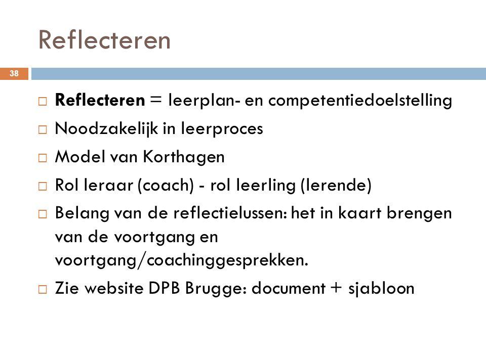 Reflecteren 38  Reflecteren = leerplan- en competentiedoelstelling  Noodzakelijk in leerproces  Model van Korthagen  Rol leraar (coach) - rol leer