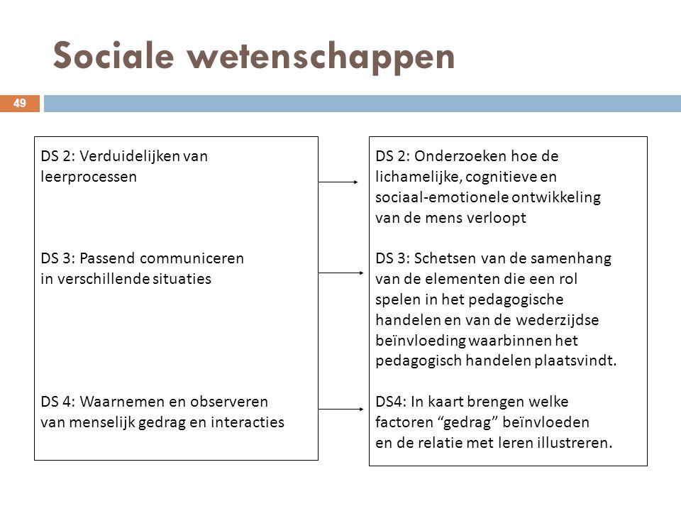 Sociale wetenschappen 49 DS 2: Verduidelijken van leerprocessen DS 3: Passend communiceren in verschillende situaties DS 4: Waarnemen en observeren va