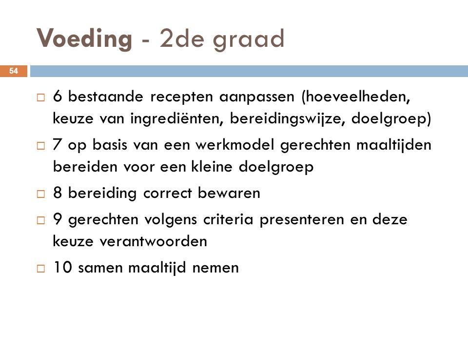 Voeding - 2de graad 54  6 bestaande recepten aanpassen (hoeveelheden, keuze van ingrediënten, bereidingswijze, doelgroep)  7 op basis van een werkmo