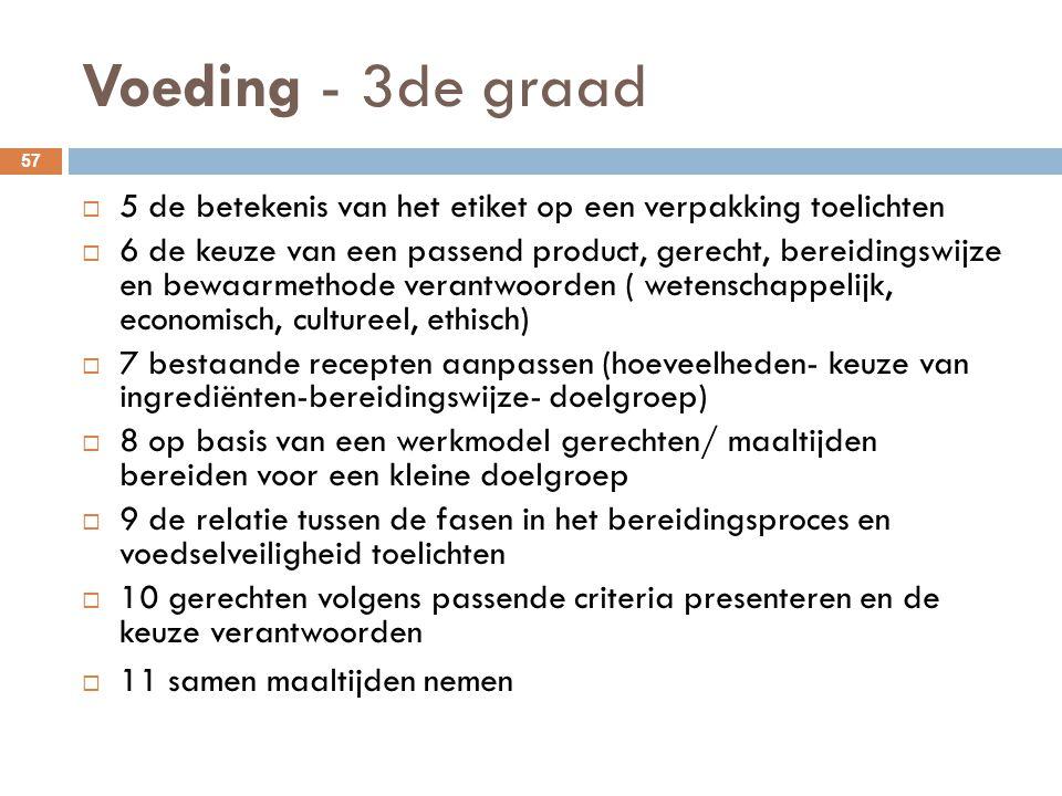 Voeding - 3de graad 57  5 de betekenis van het etiket op een verpakking toelichten  6 de keuze van een passend product, gerecht, bereidingswijze en
